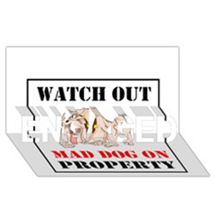 Watch Out Mad Dog On Property Engaged 3d Greeting Card (8x4)