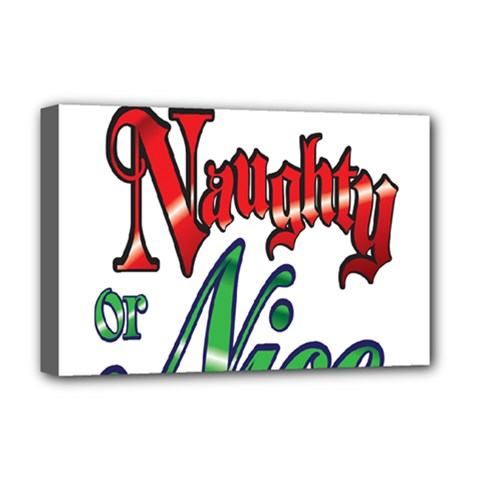 Vintage Christmas Naughty Or Nice Deluxe Canvas 18  X 12