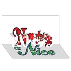 Vintage Christmas Naughty Or Nice Hugs 3d Greeting Card (8x4)