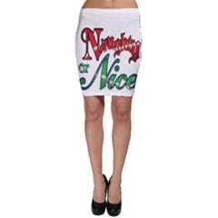 Vintage Christmas Naughty Or Nice Bodycon Skirt