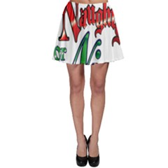 Vintage Christmas Naughty Or Nice Skater Skirt