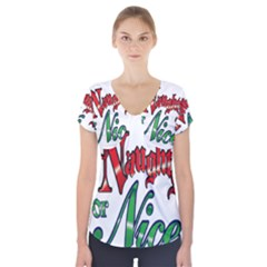 Vintage Christmas Naughty Or Nice Short Sleeve Front Detail Top