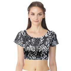 Flower Short Sleeve Crop Top (Tight Fit)