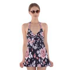 Vintage Flower  Halter Swimsuit Dress