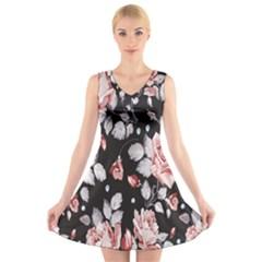 Vintage Flower  V-Neck Sleeveless Skater Dress