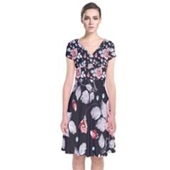 Vintage Flower  Short Sleeve Front Wrap Dress
