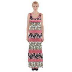 Cute Flower Pattern Maxi Thigh Split Dress