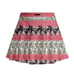 Cute Flower Pattern Mini Flare Skirt