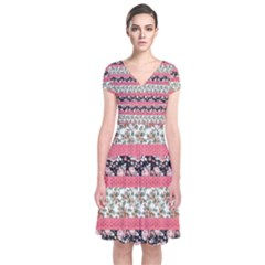 Cute Flower Pattern Short Sleeve Front Wrap Dress