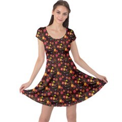 Exotic Colorful Flower Pattern  Cap Sleeve Dresses