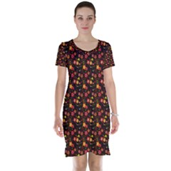 Exotic Colorful Flower Pattern  Short Sleeve Nightdress