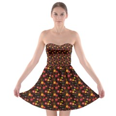 Exotic Colorful Flower Pattern  Strapless Bra Top Dress