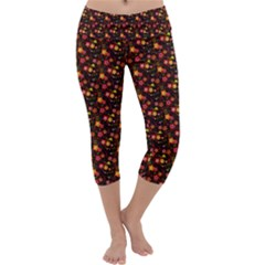 Exotic Colorful Flower Pattern  Capri Yoga Leggings