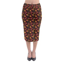 Exotic Colorful Flower Pattern  Midi Pencil Skirt