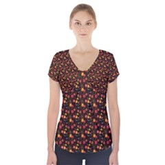 Exotic Colorful Flower Pattern  Short Sleeve Front Detail Top