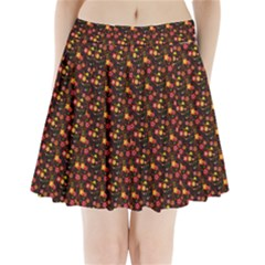 Exotic Colorful Flower Pattern  Pleated Mini Skirt