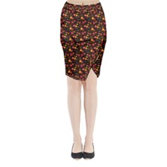 Exotic Colorful Flower Pattern  Midi Wrap Pencil Skirt