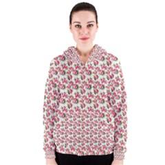 Gorgeous Pink Flower Pattern Women s Zipper Hoodie