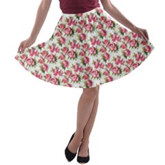 Gorgeous Pink Flower Pattern A-line Skater Skirt