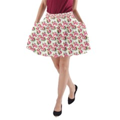 Gorgeous Pink Flower Pattern A-Line Pocket Skirt