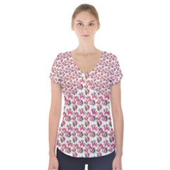 Gorgeous Pink Flower Pattern Short Sleeve Front Detail Top