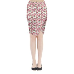 Gorgeous Pink Flower Pattern Midi Wrap Pencil Skirt