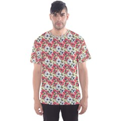 Gorgeous Red Flower Pattern  Men s Sport Mesh Tee