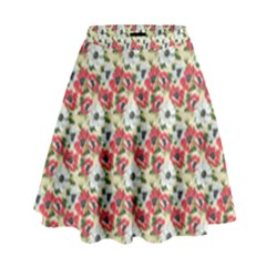 Gorgeous Red Flower Pattern  High Waist Skirt