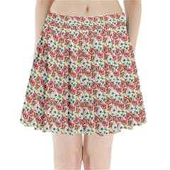 Gorgeous Red Flower Pattern  Pleated Mini Skirt