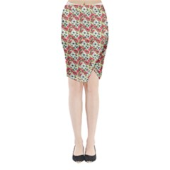 Gorgeous Red Flower Pattern  Midi Wrap Pencil Skirt