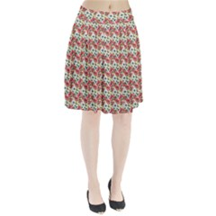 Gorgeous Red Flower Pattern  Pleated Skirt