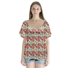 Gorgeous Red Flower Pattern  Flutter Sleeve Top