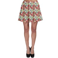 Gorgeous Red Flower Pattern  Skater Skirt