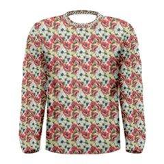 Gorgeous Red Flower Pattern  Men s Long Sleeve Tee