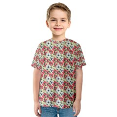 Gorgeous Red Flower Pattern  Kids  Sport Mesh Tee