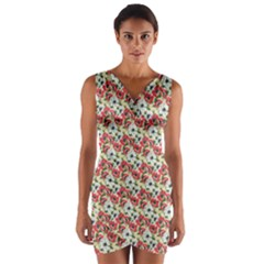 Gorgeous Red Flower Pattern  Wrap Front Bodycon Dress