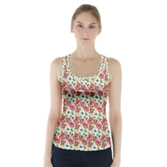 Gorgeous Red Flower Pattern  Racer Back Sports Top