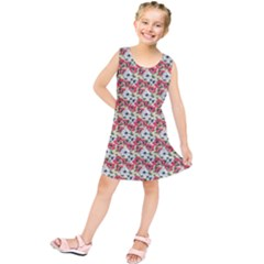 Gorgeous Red Flower Pattern  Kids  Tunic Dress