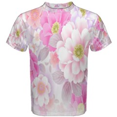 Cute Pink Flower Pattern  Men s Cotton Tee