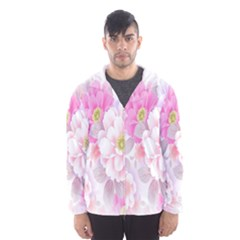 Cute Pink Flower Pattern  Hooded Wind Breaker (Men)