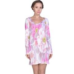 Cute Pink Flower Pattern  Long Sleeve Nightdress