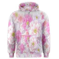 Cute Pink Flower Pattern  Men s Zipper Hoodie