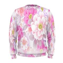Cute Pink Flower Pattern  Men s Sweatshirt