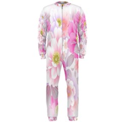 Cute Pink Flower Pattern  OnePiece Jumpsuit (Men)