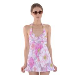 Cute Pink Flower Pattern  Halter Swimsuit Dress