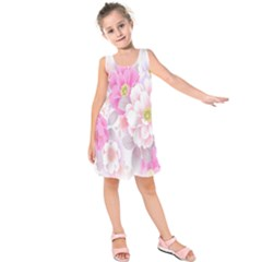 Cute Pink Flower Pattern  Kids  Sleeveless Dress