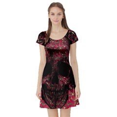 Vintage Pink Flowered Skull Pattern  Short Sleeve Skater Dress