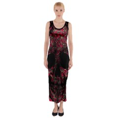 Vintage Pink Flowered Skull Pattern  Fitted Maxi Dress