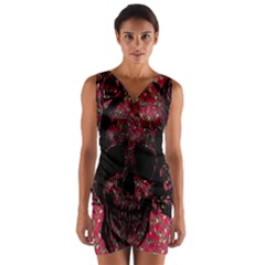 Vintage Pink Flowered Skull Pattern  Wrap Front Bodycon Dress