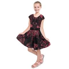 Vintage Pink Flowered Skull Pattern  Kids  Short Sleeve Dress